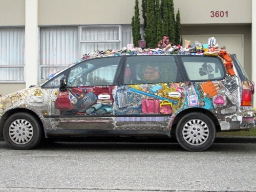 car decorated with purses