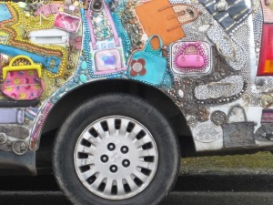 car decorated with handbags