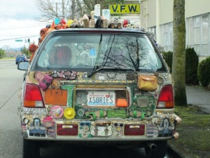 car decorated with shoes and purses