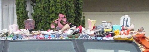 car decorated with shoes and sunglasses