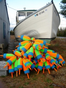 maine lobster boat and buoys